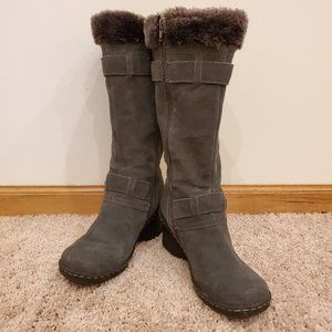 Grey Heeled Fur Boots